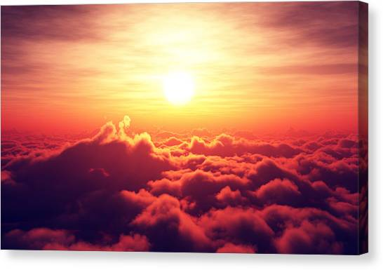 Aerial Canvas Print - Sunrise Above The Clouds by Johan Swanepoel