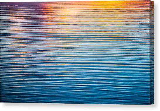 Orange Canvas Print - Sunrise Abstract On Calm Waters by Parker Cunningham