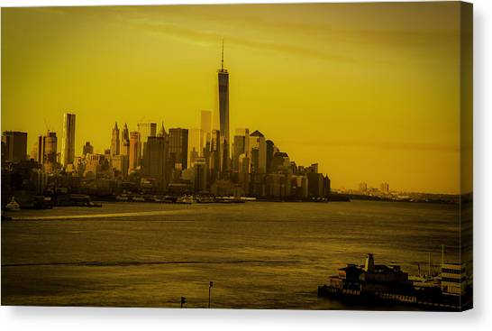 Sunrise Across The Hudson Canvas Print