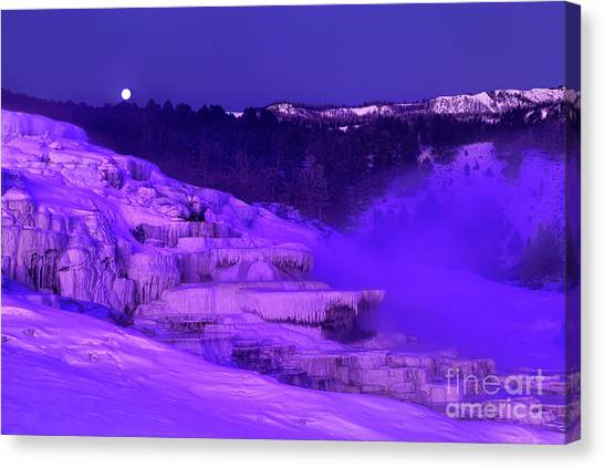 Sunrise And Moonset Over Minerva Springs Yellowstone National Park Canvas Print