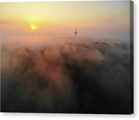 Canvas Print featuring the photograph Sunrise And Morning Fog Warm Orange Light by Matthias Hauser