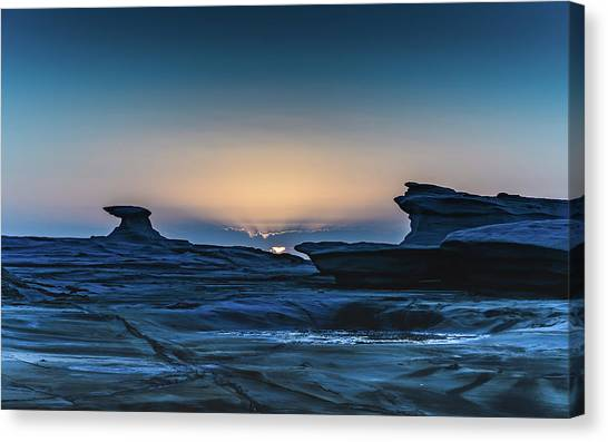 Sunrise And Rock Platform Landscape Canvas Print