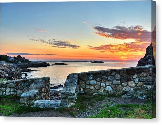 Sunrise At Castle Rock Marblehead Ma Canvas Print