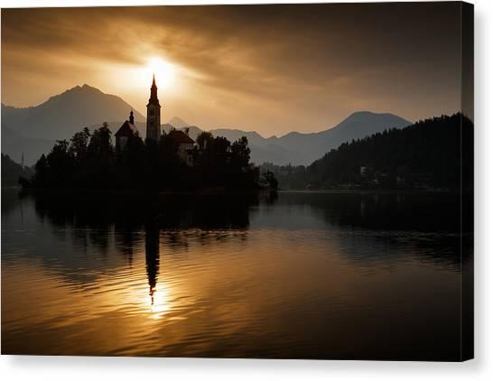 Sunrise At Lake Bled Canvas Print