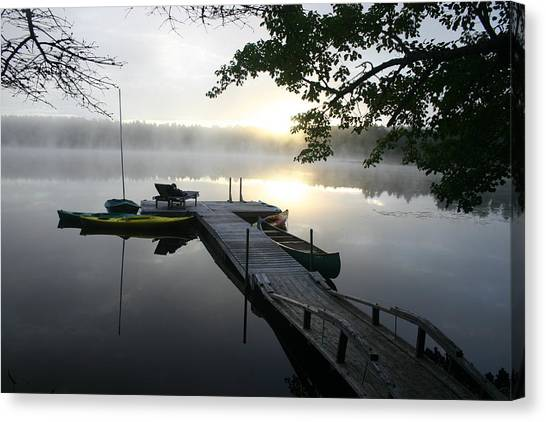 Sunrise At Lake Canvas Print by Dennis Curry