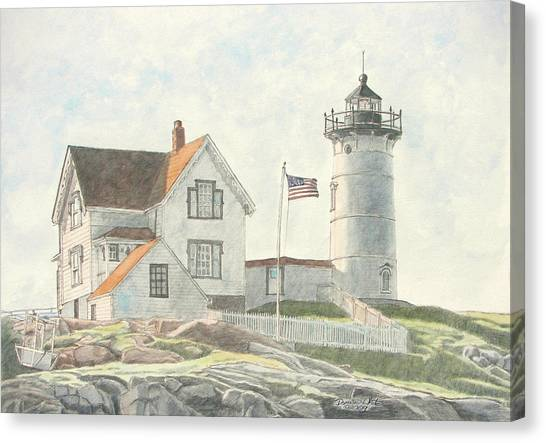 Canvas Print featuring the painting Sunrise At Nubble Light by Dominic White
