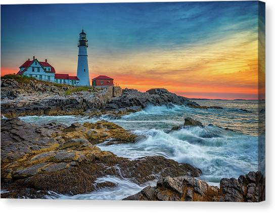 Portland Lighthouse Canvas Print - Sunrise At Portland Head Light by Rick Berk