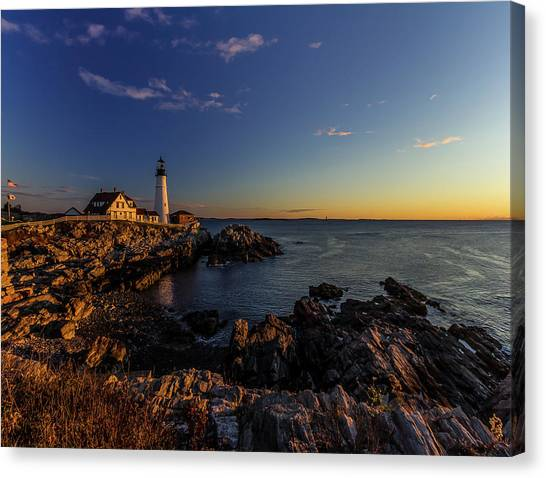 Sunrise At Portland Headlight Canvas Print