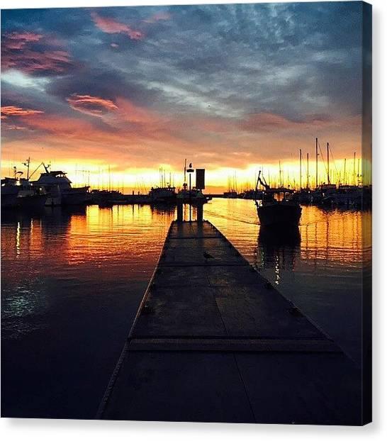 Ocean Sunrises Canvas Print - Sunrise At Santa Barbara Harbor by Adriana Barreto