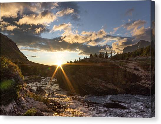 Sunrise // Swiftcurrent, Glacier National Park Canvas Print