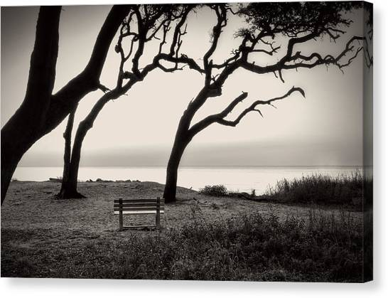 Sunrise At The Bench In Black And White Canvas Print