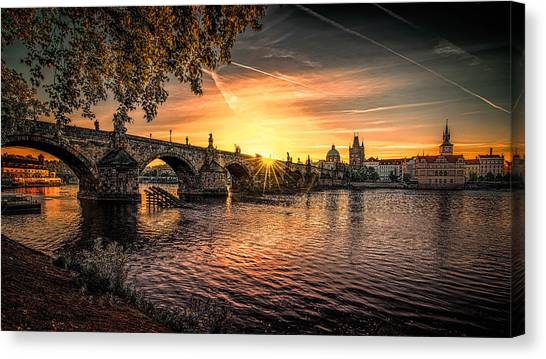 Sunrise At The Charles Bridge Canvas Print