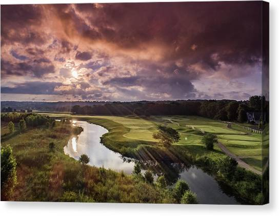 Sunrise At The Course Canvas Print