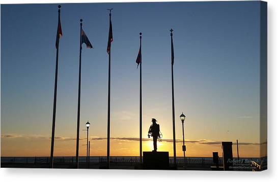 Sunrise At The Firefighters Memorial Canvas Print