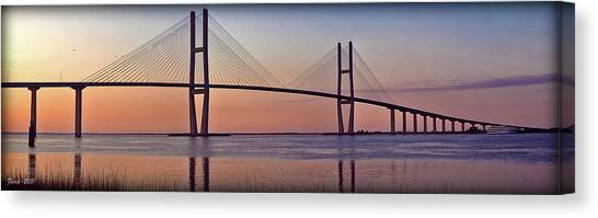 Sunrise At The Sidney Lanier Bridge Canvas Print