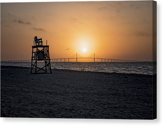 Sunrise At The Skyway Bridge Canvas Print