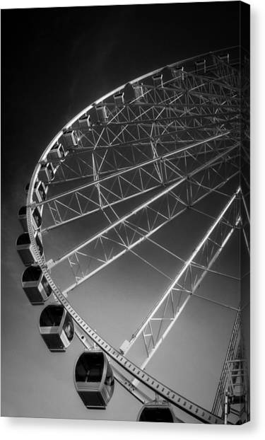 Sunrise At The Wheel In Black And White Canvas Print