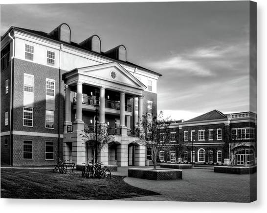 Sunrise At Western Carolina University In Black And White Canvas Print