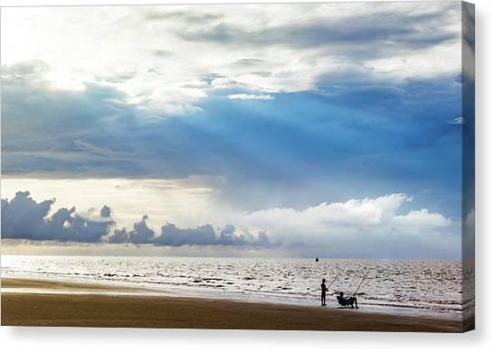 Sunrise Beach Fishing Canvas Print