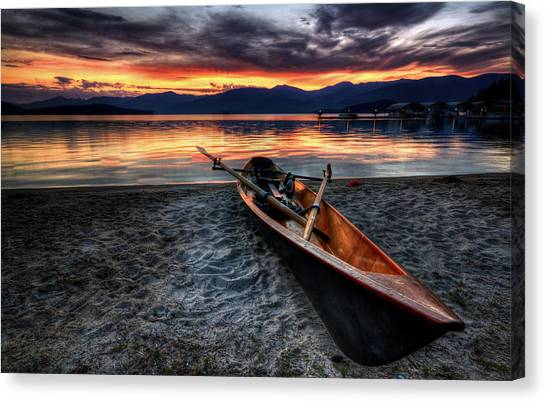 Canoe Canvas Print - Sunrise Boat by Matt Hanson