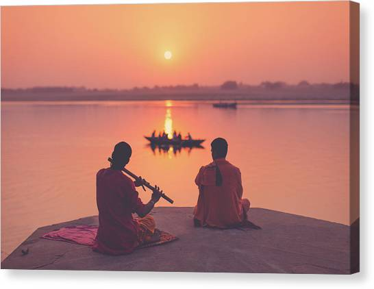 Sunrise By The Ganges Canvas Print
