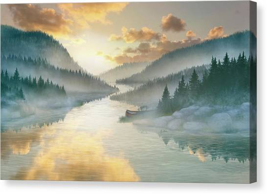 Canvas Print - Sunrise By The River by Bitten Kari
