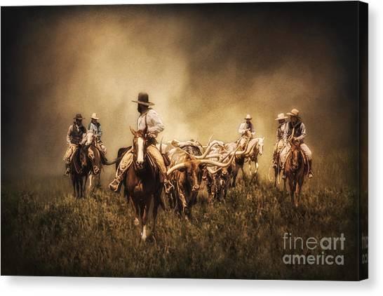 Sunrise Cattle Drive Canvas Print