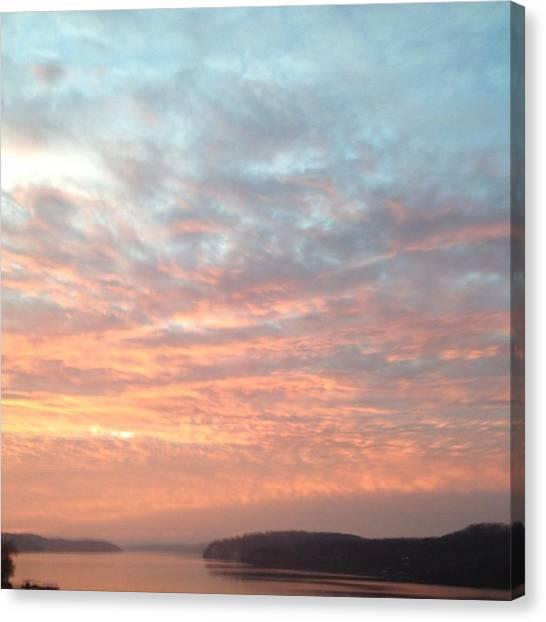 Lake Sunrises Canvas Print - #sunrise #clouds #lake #missouri by Lacey Newman