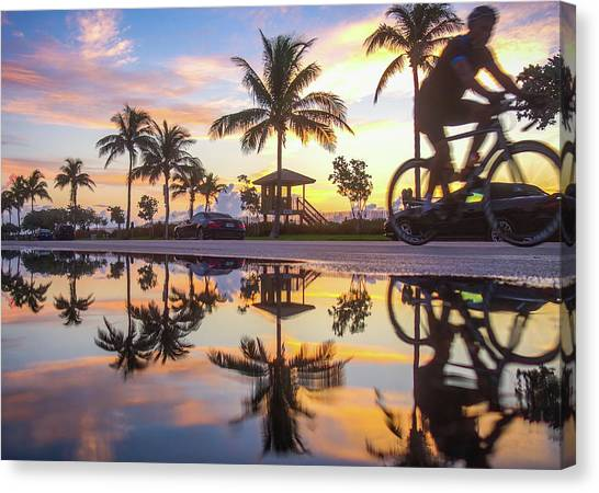 Sunrise Cyclist Delray Beach Florida Canvas Print