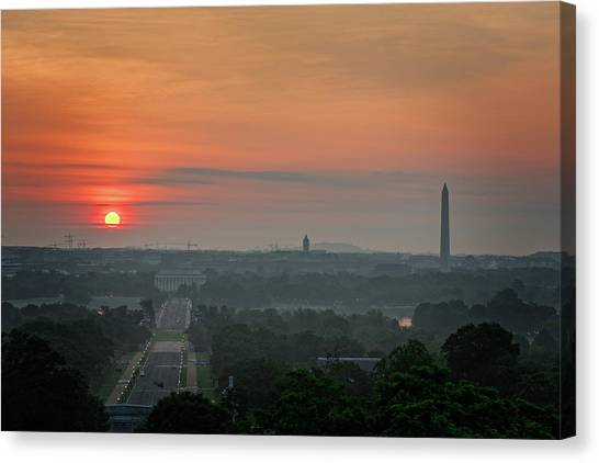 Sunrise From The Arlington House Canvas Print