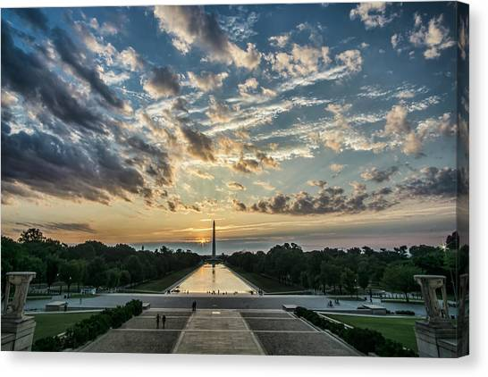 Sunrise From The Steps Of The Lincoln Memorial In Washington, Dc  Canvas Print