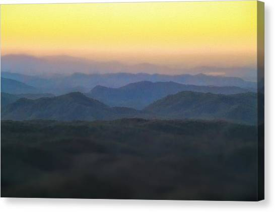 Sunrise Horizon Canvas Print - Sunrise Horizon Over The Great Smoky Mountains by Dan Sproul