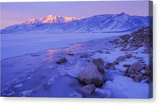 Lake Sunrises Canvas Print - Sunrise Ice Reflection by Chad Dutson