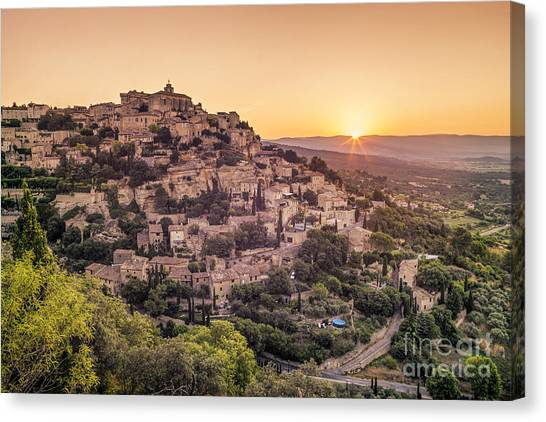 Canvas Print featuring the photograph Sunrise In Gordes Provence  by Juergen Held