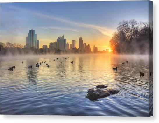 Austin Texas Canvas Print - Sunrise In January Over Austin Texas 5 by Rob Greebon