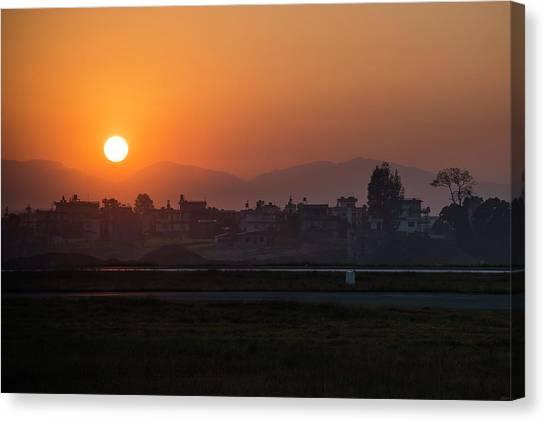 Canvas Print featuring the photograph Sunrise In Kathmandu by Owen Weber