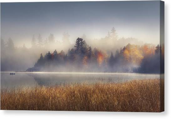 Boat Canvas Print - Sunrise In Lake Placid  by Magda  Bognar