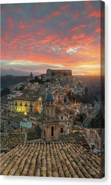 Sunrise In Ragusa Ibla Canvas Print