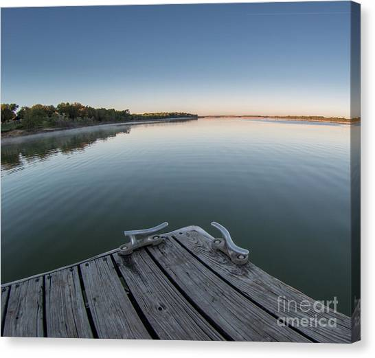 Sunrise On A Clear Morning Over Large Lake With Fog On Top, From Canvas Print