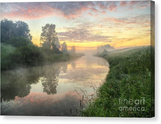 Painterly Canvas Print - Sunrise On A Misty River by Veikko Suikkanen