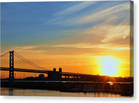 Sunrise On Ben Franklin Bridge Canvas Print by Andrew Dinh