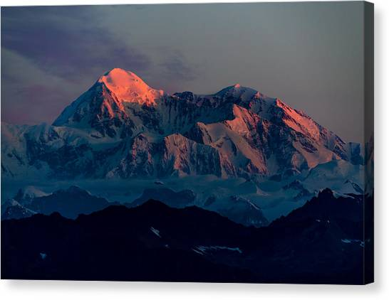 Denali Canvas Print - Sunrise On Denali by Ian Stotesbury
