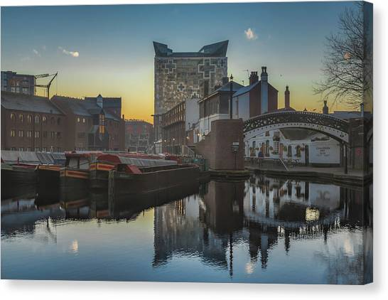 Birmingham Canvas Print - Sunrise On Gas Street Basin by Chris Fletcher