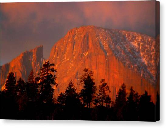 Sunrise On Long's Peak Canvas Print by Perspective Imagery
