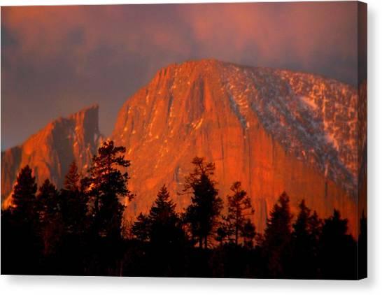 Sunrise On Long's Peak Canvas Print