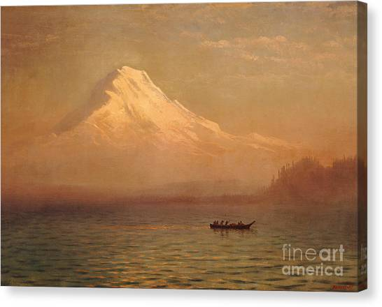 Mountain West Canvas Print - Sunrise On Mount Tacoma  by Albert Bierstadt