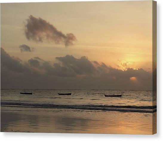Exploramum Canvas Print - Sunrise On The Beach With Wooden Dhows by Exploramum Exploramum