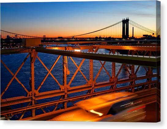 Sunrise On The Brooklyn Bridge Canvas Print