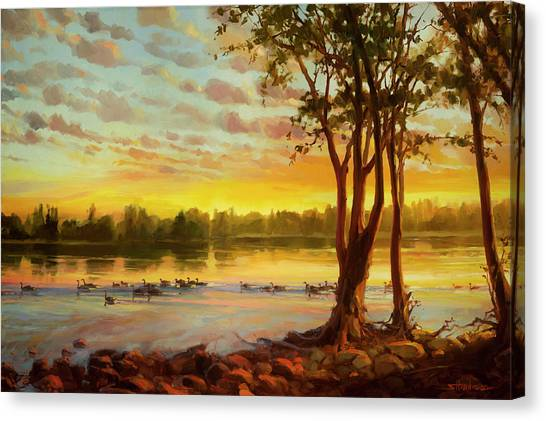 Eastern Canvas Print - Sunrise On The Columbia by Steve Henderson