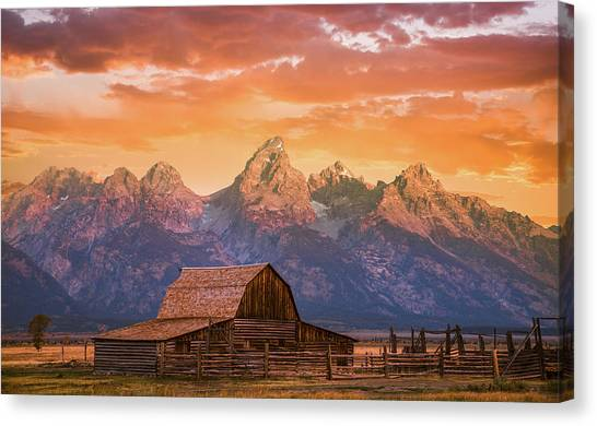 Teton Canvas Print - Sunrise On The Ranch by Darren White